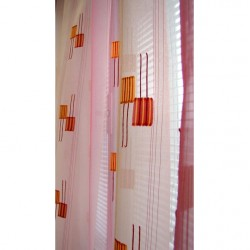 Hotová voálová záclona N0165-10 světle oranžová/ vínová, 155x300cm