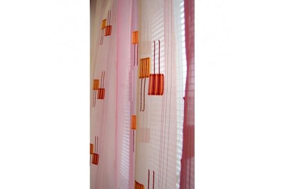 Hotová voálová záclona N0165-10 světle oranžová/ vínová, 145x245cm