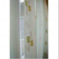 Hotová voálová záclona N0165-11 světle zelená/ smetanová, 145x245cm