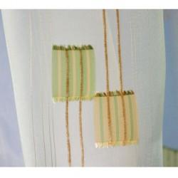 Voálová záclona N0165-11 světle zelená/ smetanová, výška 180cm, metráž
