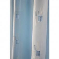 Voálová záclona N0165-18 smetanová/ světle modrá, výška 160cm, metráž