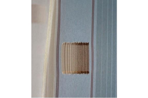 Voálová záclona N0166-06 světle béžová/ hnědá, výška 160cm, metráž