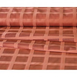 Záclona žakárová mřížka -  3061 / cihlová , metráž
