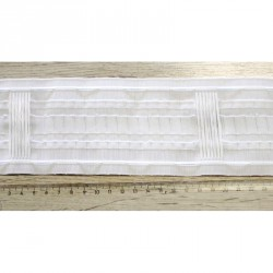 Řasící páska bílá - 80 mm/na tyč s poutky, metráž