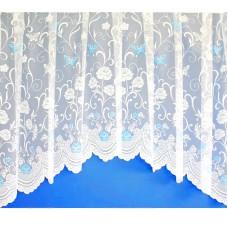 Hotová oblouková záclona Motýl modrý/ vzor 7514, 180x320cm