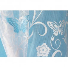 Hotová oblouková žakárová záclona Motýl modrý/ vzor 7514, 120x280cm