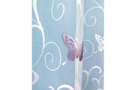 Hotová oblouková záclona Motýl fialový/ vzor 7514, 120x280cm