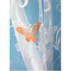 Hotová oblouková žakárová záclona Motýl oranžový/ vzor 7514, 120x280cm